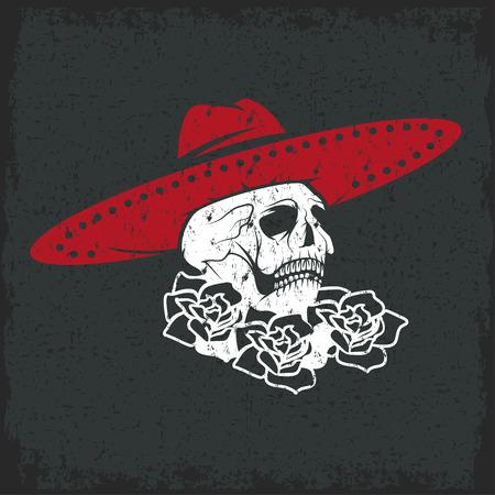Day of The Dead Skull with flowers and sombrero, dia de los muertos Vector
