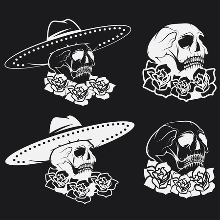 all saint day: Day of The Dead Skull with flowers and sombrero, dia de los muertos