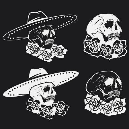 Day of The Dead Skull with flowers and sombrero, dia de los muertos