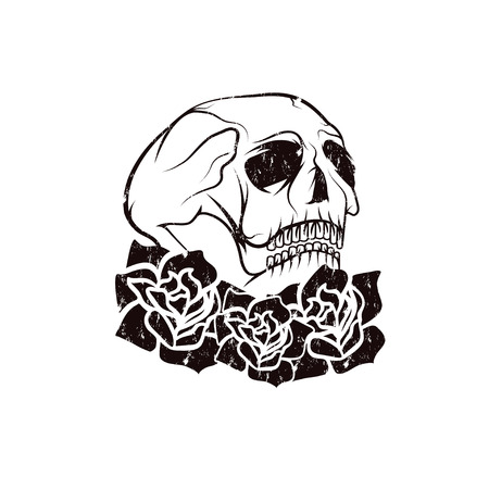catrina: Day of The Dead Skull with flowers , dia de los muertos Illustration