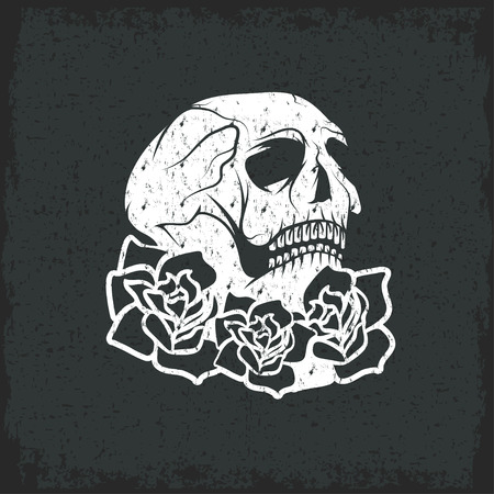 Day of The Dead Skull with flowers , dia de los muertos Illustration