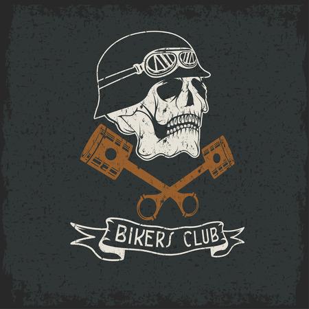 spurt: biker theme label with pistons and skulls