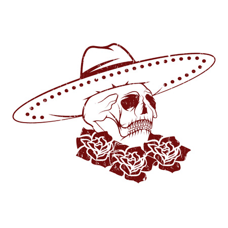 all souls' day: Day of The Dead Skull with flowers and sombrero, dia de los muertos