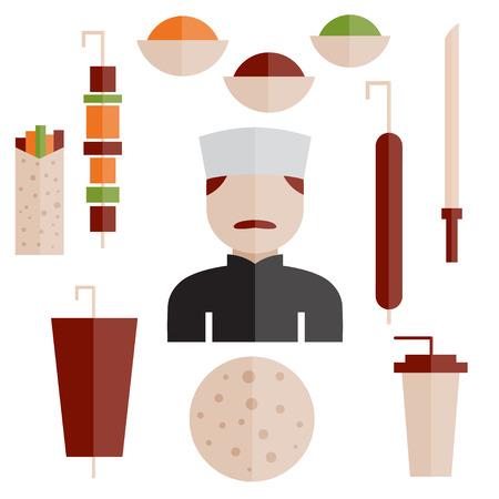turkish dessert: flat design doner kebab elements and chef