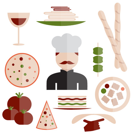 italian cuisine: flat design italian cuisine elements and chef