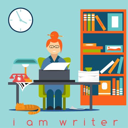 freelancer writer girl flat design concept Illustration