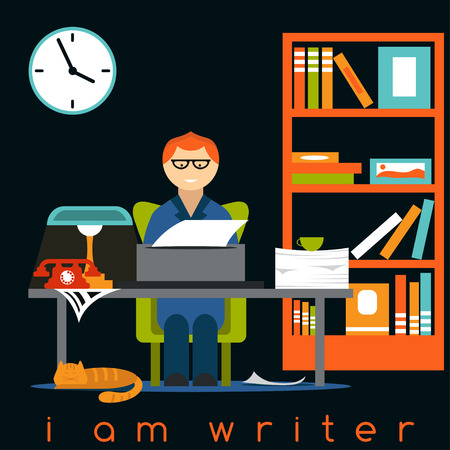 writer: freelancer writer guy flat design concept