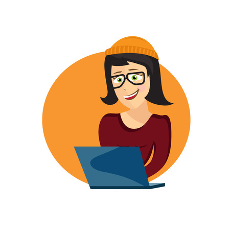 self employed: cartoon illustration of young hipster woman with laptop
