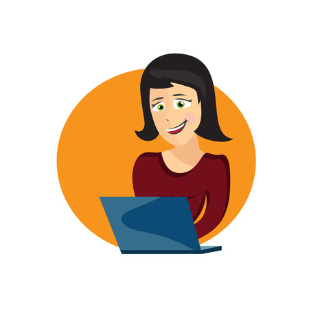 self employed: cartoon illustration of young woman with laptop
