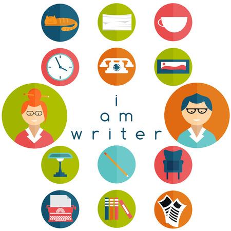 the writer: flat design writer web icons set
