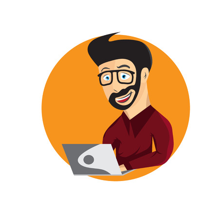 self employed: cartoon illustration of young hipster man with laptop Illustration