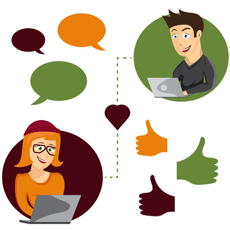 dating icons: Vector illustration of online dating man and woman app icons in hipster cartoon style Illustration