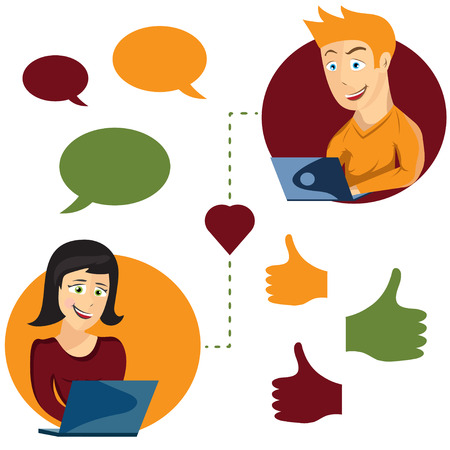 dating icons: Vector illustration of online dating man and woman app icons in cartoon style
