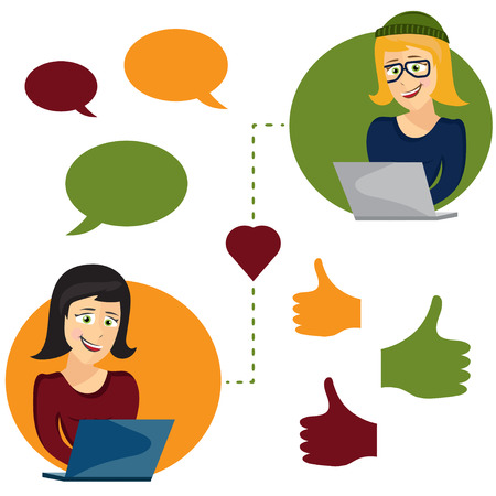 dating icons: Vector illustration of online dating woman and woman app icons in cartoon style Illustration