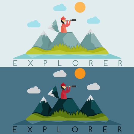 internet explorer: flat design of explorer with spyglass on the background of snow mountains