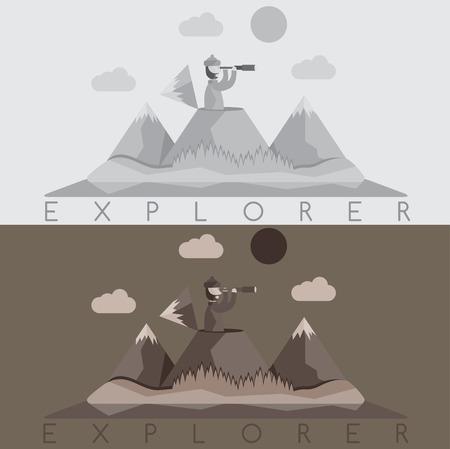 neve montagne: design piatto di esploratore con cannocchiale sullo sfondo di montagne di neve Vettoriali
