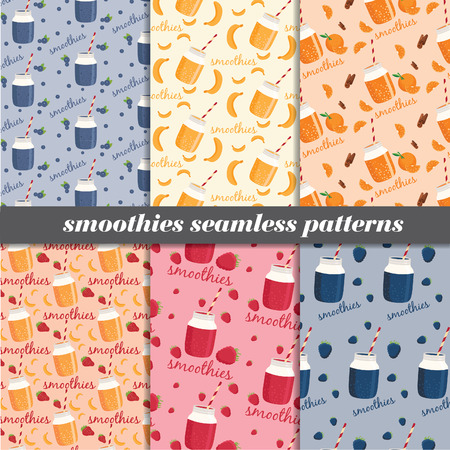 non alcoholic: Set of smoothies seamless patterns. Vector