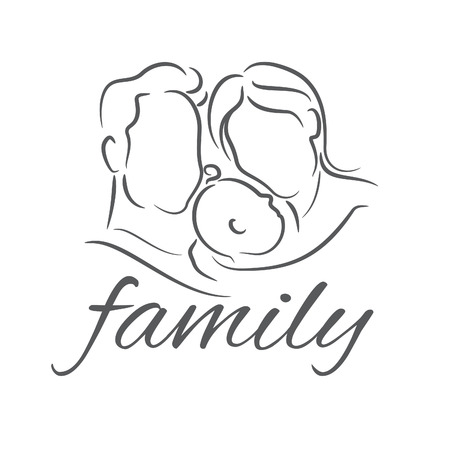 mother and baby: Mother with baby, linear silhouette illustrations