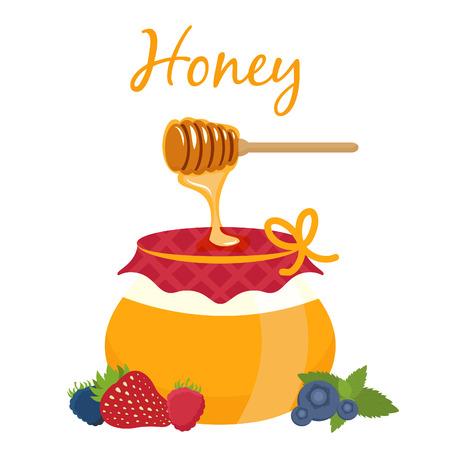 honey pot: Illustration of honey pot and honey dipper. Vector