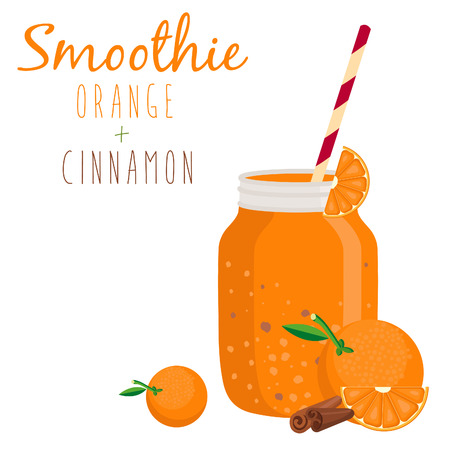 non alcoholic: Illustration of smoothie in bank mason with straw. Vector