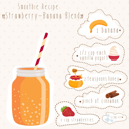 non alcoholic: Illustration of smoothie recipe in bank mason with straw. Vector