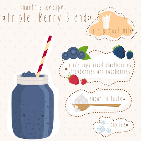 iron fun: Illustration of smoothie recipe in bank mason with straw. Vector