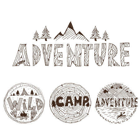 ice axe: Hand drawn labels for adventure themes. Vector