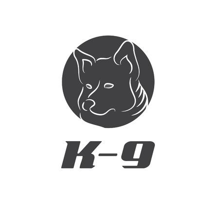 k9: Illustration icon K-9 with dog. Vector Illustration