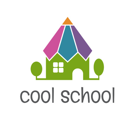 school form: Conceptual illustration of the school in the form of a pencil. vector