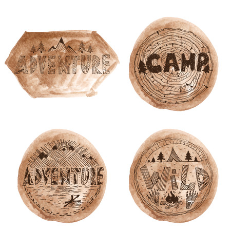 Hand drawn labels for adventure themes. Vector Vector