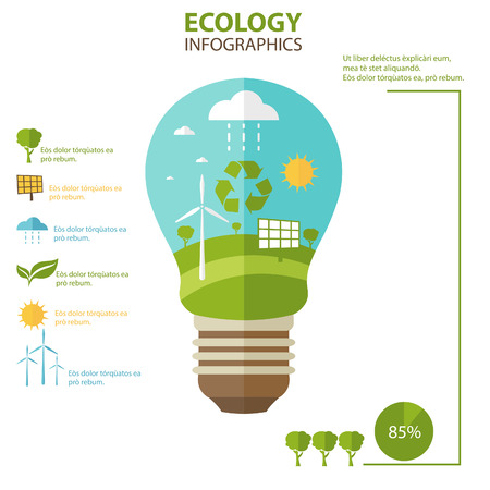 energies: Illustrations concept  of lamp with icons of ecology, environment, green energy. Vector