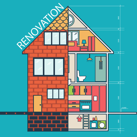 home construction: Renovation .House remodeling,flat design .Vector Illustration
