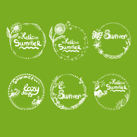 Illustration of watercolor hand drawn romantic set labels in summer themes. Vector Vector
