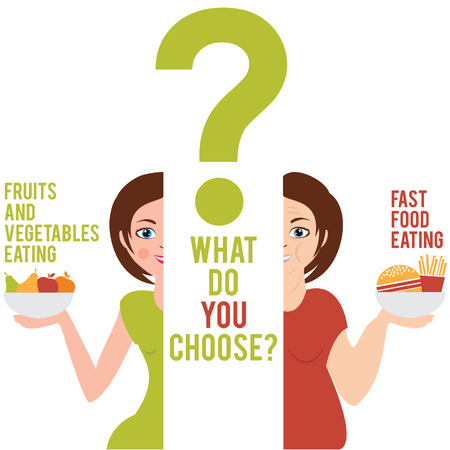 chosen: Illustration of two women who have chosen a different style of food: fast food or fruits and vegetables. vector