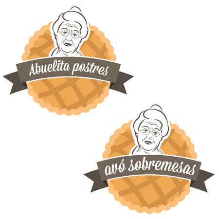 Illustration label cake with grandmother.Vector Vector