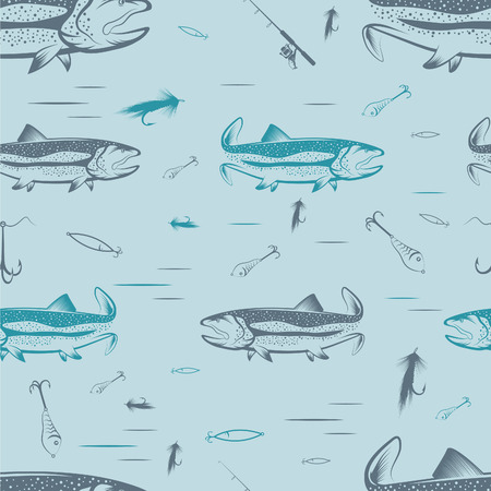 Seamless pattern on the subject of fishing. With fish, boat and bait. Vector