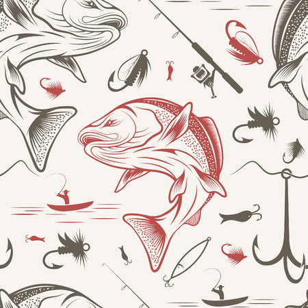 spawning: Seamless pattern on the subject of fishing. With fish, boat and bait. Vector