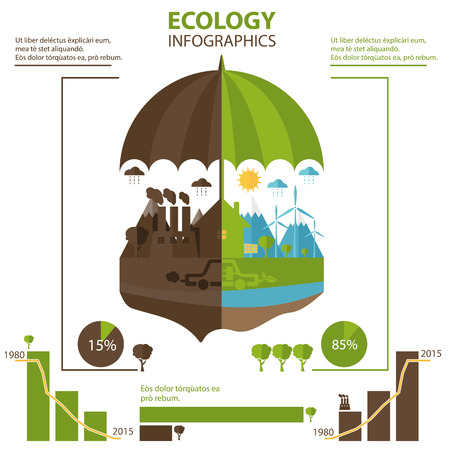 iconography: Illustrations concept of umbrella and earth with icons of ecology, environment, green energy. Vector
