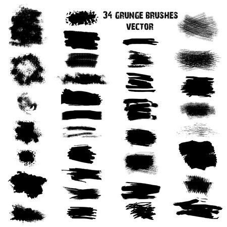 34: Set of 34 different grunge brush strokes.Vector Illustration