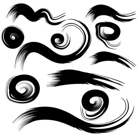 muddy: Set of grunge circle brush strokes.Vector