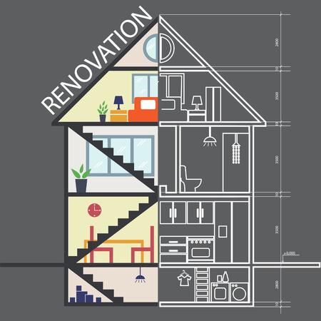 renovation house: Renovation .House remodeling,flat design .Vector Illustration