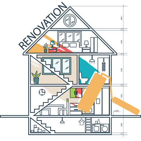 remodeling: Renovation .House remodeling,flat design .Vector Illustration
