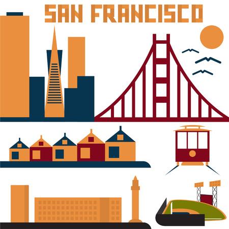 golden gate: landmarks of San Francisco flat design Illustration