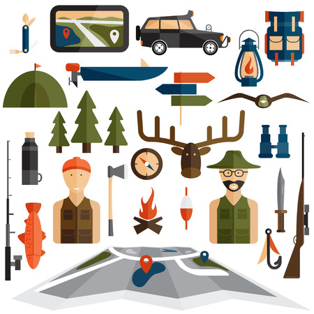 hunting: flat design icons of fishing and hunting theme Illustration