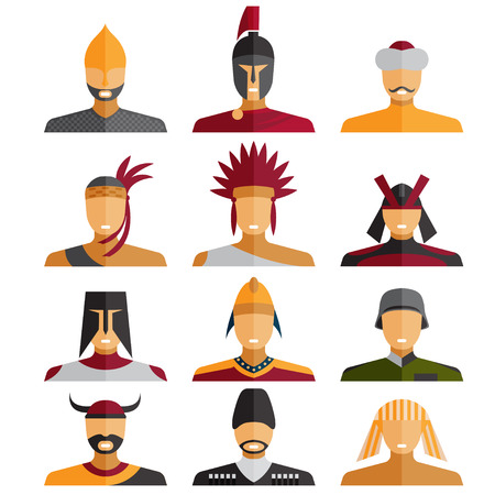 avatars: flat design warriors of different epochs and countries Illustration