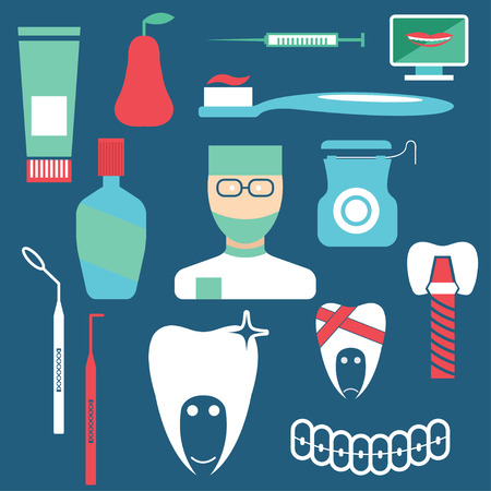 anesthesia: flat design collection of dentistry theme