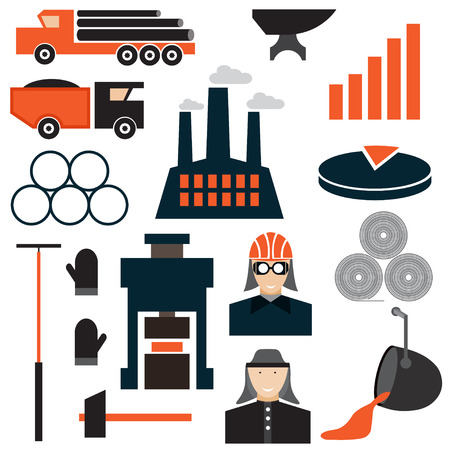 metallurgy: flat design icons of metallurgy industry