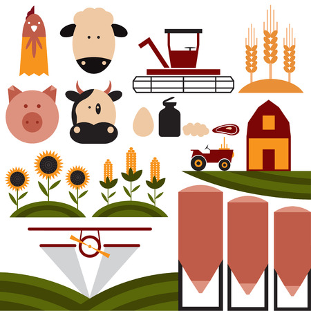 fertilizers: cartoon flat design icons of agriculture