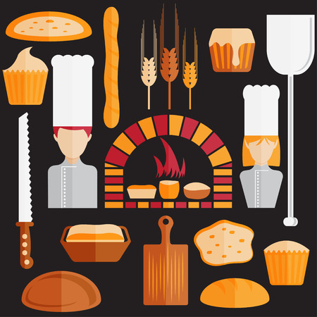 flat design icons of bakery theme Vector