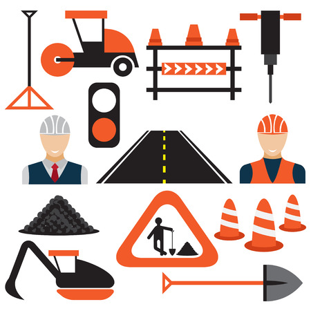 barrage: Men at work,road works flat design icons